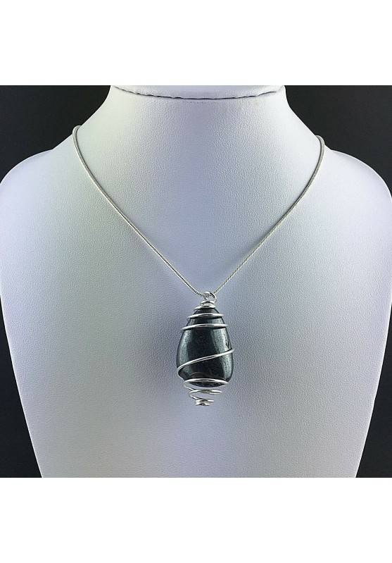 Pendant in HHEMATITE Hand Made on Silver Plated Spiral Necklace A+-2