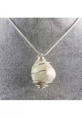 White LABRADORITE Moon STONE PENDANT TUMBLED SILVER Plated Spiral Necklace A+-1