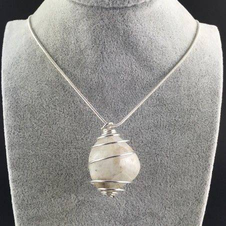White LABRADORITE Moon STONE PENDANT TUMBLED SILVER Plated Spiral Necklace A+-2