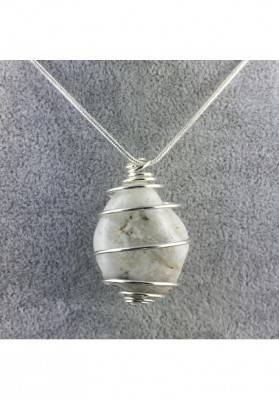 White LABRADORITE Moon STONE PENDANT TUMBLED SILVER Plated Spiral Necklace A+-4