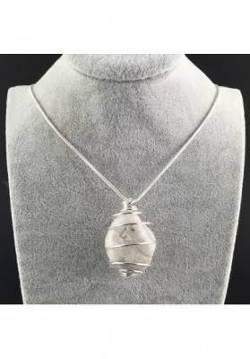 White LABRADORITE Moon STONE PENDANT TUMBLED SILVER Plated Spiral Necklace A+-5