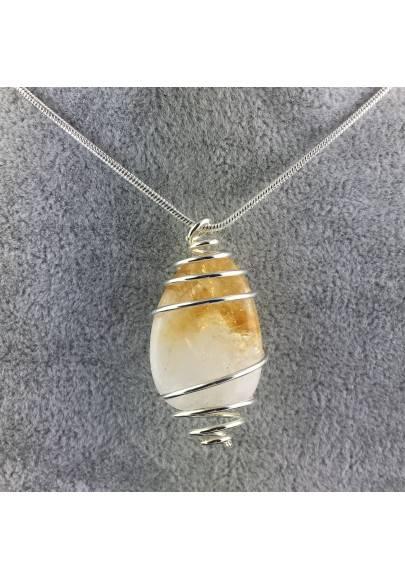 CITRINE Quartz Pendant Handmade Silver Plated Spiral Necklace-1