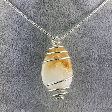 CITRINE Quartz Pendant Handmade Silver Plated Spiral Necklace-1