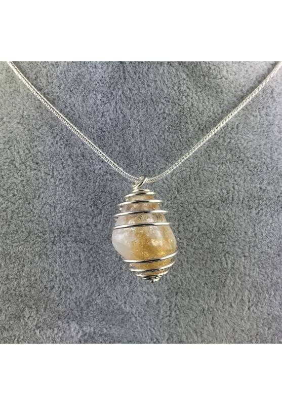 CITRINE Quartz Pendant Handmade Silver Plated Spiral Necklace-4