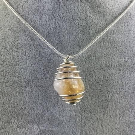 CITRINE Quartz Pendant Handmade Silver Plated Spiral Necklace-4