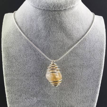 CITRINE Quartz Pendant Handmade Silver Plated Spiral Necklace-5