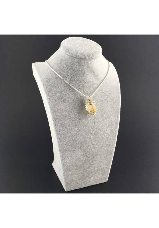 CITRINE Quartz Pendant Handmade Silver Plated Spiral Necklace-6