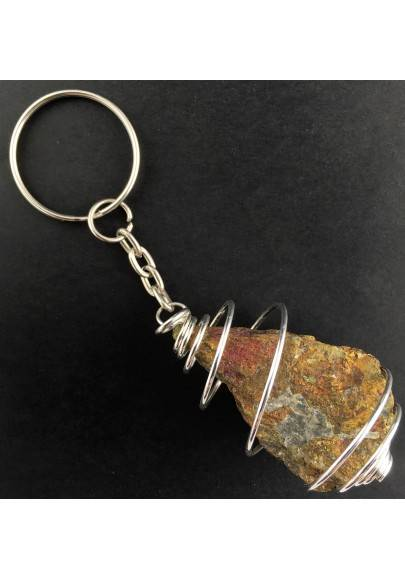 Rough Chalcopyrite Keychain Keyring Hand Made on Silver Plated Spiral-1