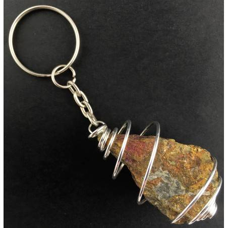 Rough Chalcopyrite Keychain Keyring - CAPRICORN Zodiac Silver Plated Spiral-1