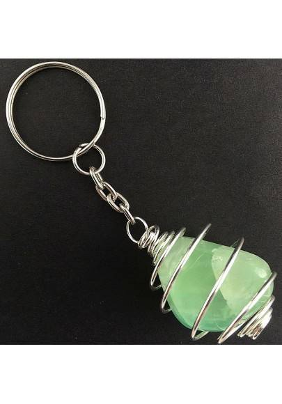 Green Fluorite Keychain Keyring - CAPRICORN Zodiac Silver Plated Spiral A+-1