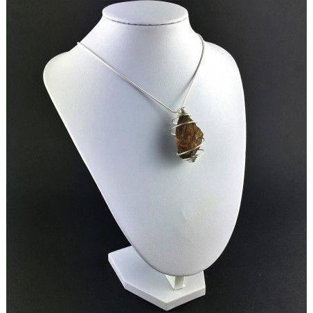 Rough CHALCOPYRITE Pendant Handmade Silver Plated Spiral Crystal Healing A+-3