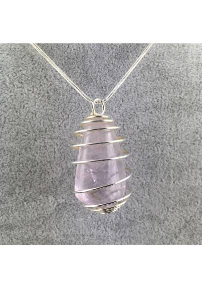 Rainbow Fluorite Pendant Handmade Silver Plated Spiral Necklace-1