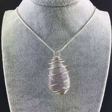 Rainbow Fluorite Pendant Handmade Silver Plated Spiral Necklace-2