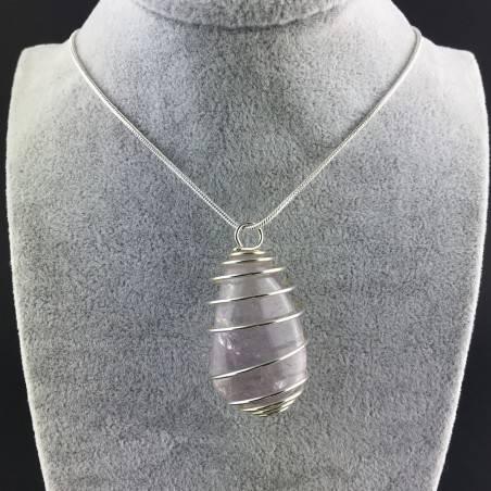 Rainbow Fluorite Pendant Handmade Silver Plated Spiral Necklace-2