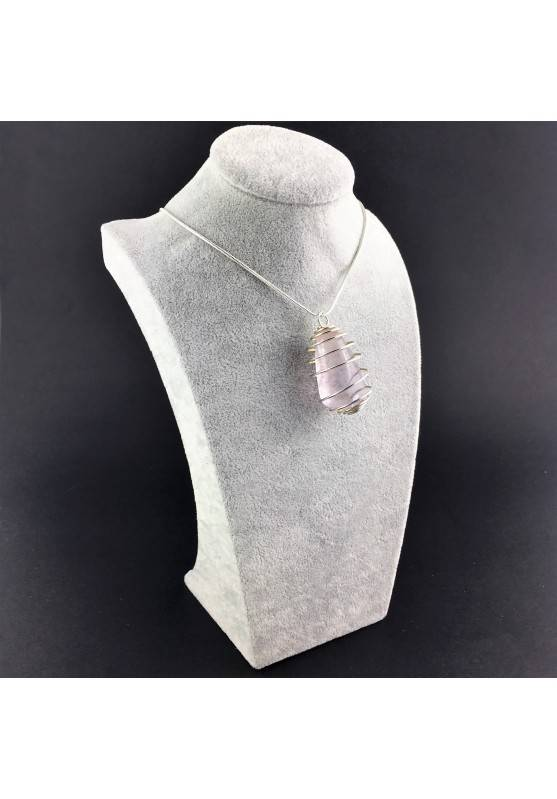Rainbow Fluorite Pendant Handmade Silver Plated Spiral Necklace-3