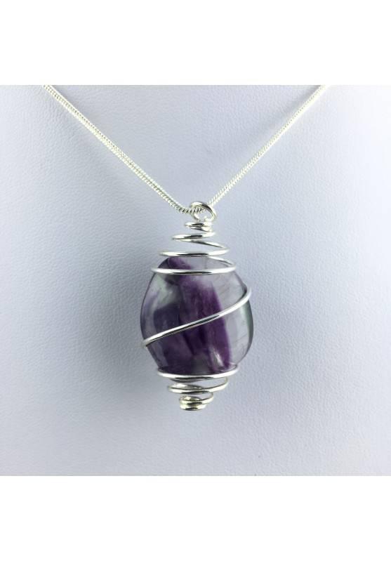 Rainbow Fluorite Pendant Handmade Silver Plated Spiral Necklace-4