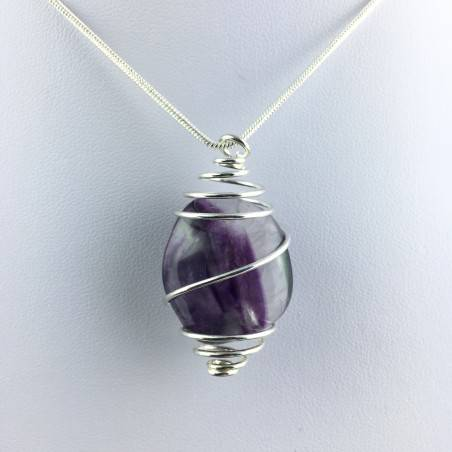 Rainbow Fluorite Pendant Handmade Silver Plated Spiral Necklace-4