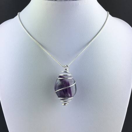 Rainbow Fluorite Pendant Handmade Silver Plated Spiral Necklace-5