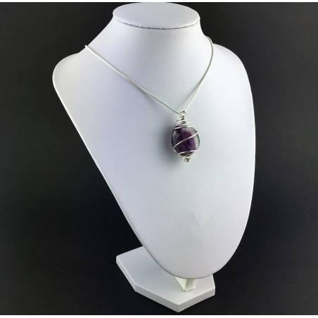 Rainbow Fluorite Pendant Handmade Silver Plated Spiral Necklace-6