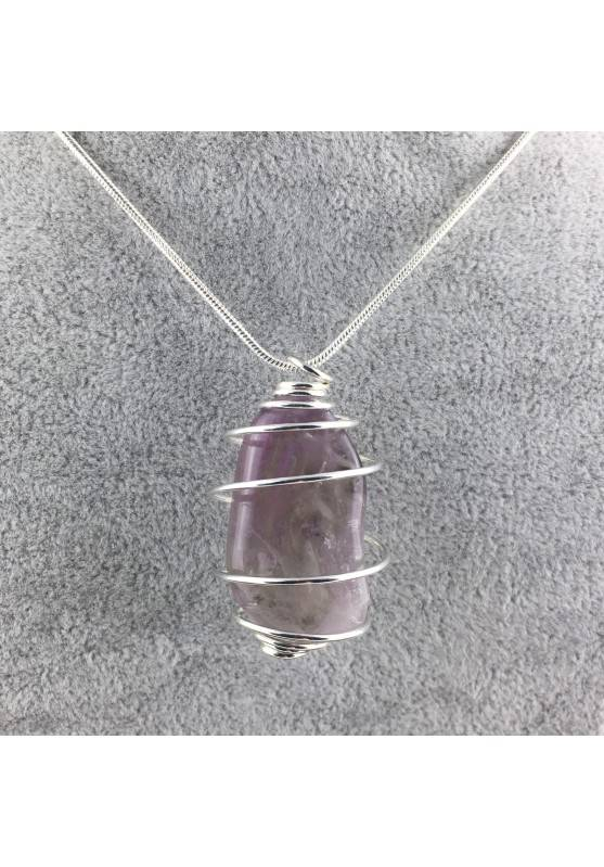 Rainbow Fluorite Pendant Handmade Silver Plated Spiral Necklace-7