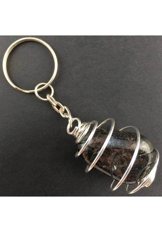 ASTROPHYLLITE Keychain Keyring Hand Made on Silver Plated Spiral A+-1