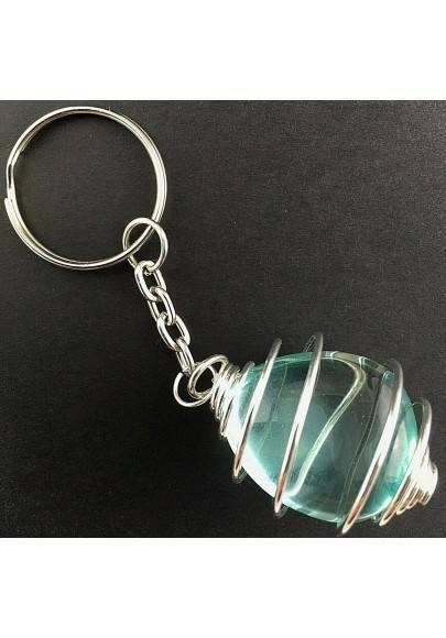 Aqua Blue OBSIDIAN Keychain Keyring - GEMINI Zodiac Silver Plated Spiral Gift Idea-1