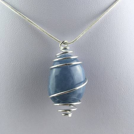 Pendant in Dumortierite Quartz  Handmade Silver Plated Spiral-1