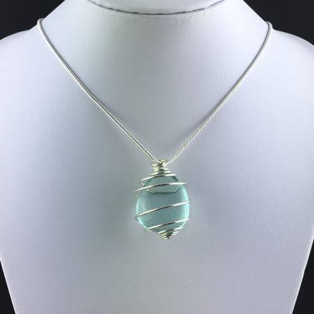 Aqua Blue OBSIDIAN Pendant  Tumbled Stones Handmade Silver Plated Spiral A+-2