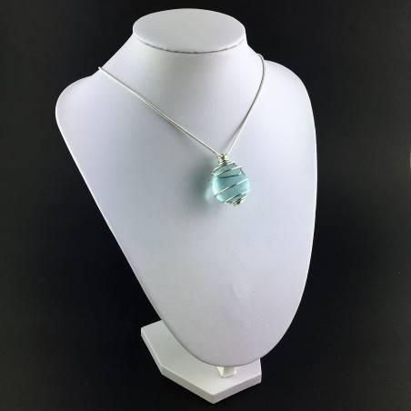 Aqua Blue OBSIDIAN Pendant  Tumbled Stones Handmade Silver Plated Spiral A+-3