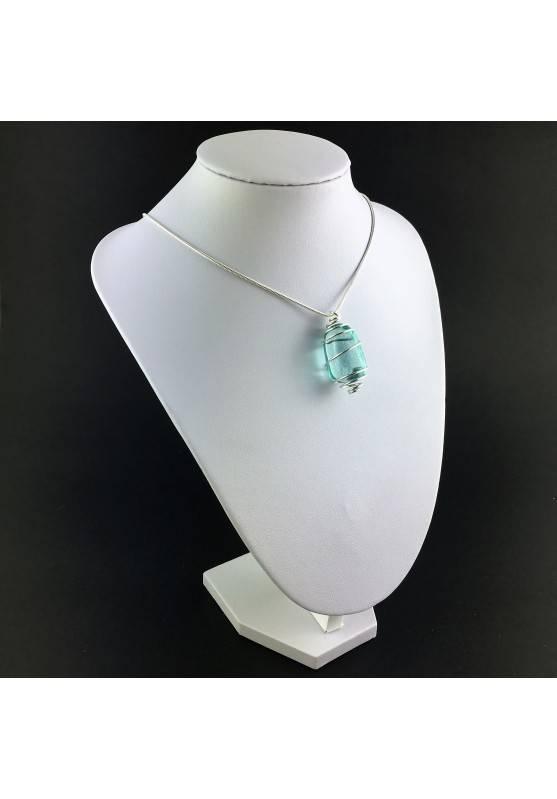 Aqua Blue OBSIDIAN Pendant  Tumbled Stones Handmade Silver Plated Spiral A+-6
