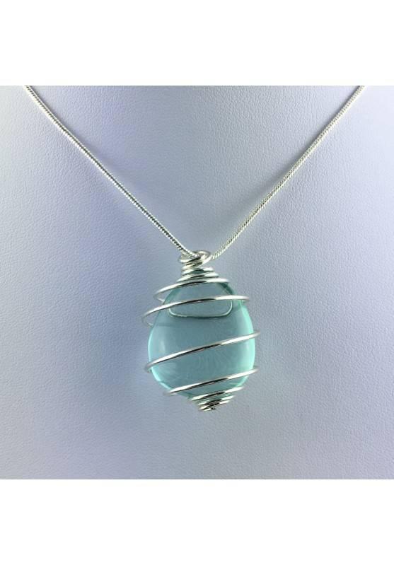 Pendant in Aqua Blue OBSIDIAN - GEMINI Zodiac Silver Plated Spiral Gift Idea A+-1