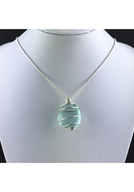 Pendant in Aqua Blue OBSIDIAN - GEMINI Zodiac Silver Plated Spiral Gift Idea A+-2