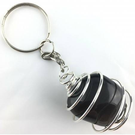 Black OBSIDIAN Keychain Tumbled Stone eyring Handmade Silver Plated Spiral A+-1