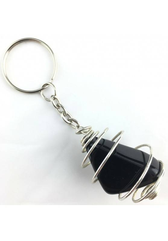 Black OBSIDIAN Keychain Tumbled Stone eyring Handmade Silver Plated Spiral A+-2