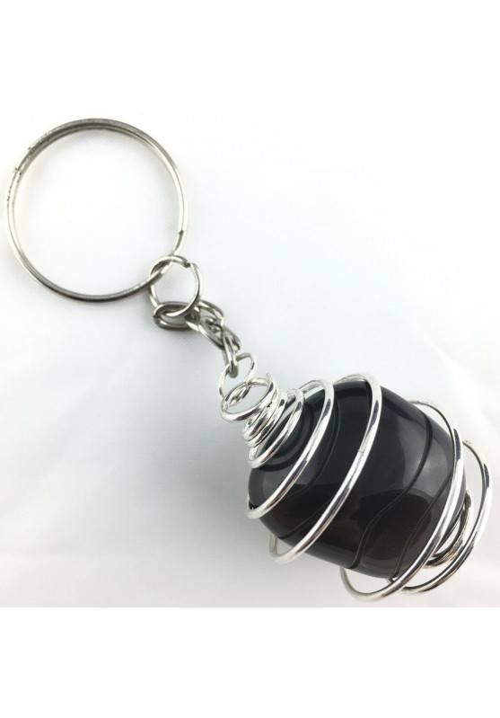 Black OBSIDIAN Keychain Keyring - CAPRICORN Zodiac Silver Plated Spiral A+-1