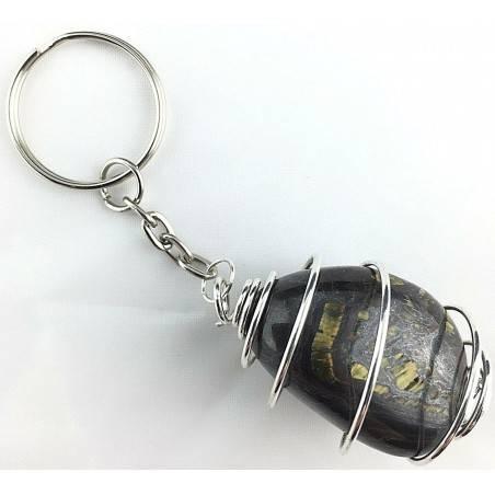 Iron Tiger's Tumbled Stone Keychain Keyring - LEO Zodiac Silver Gift Idea A+-2