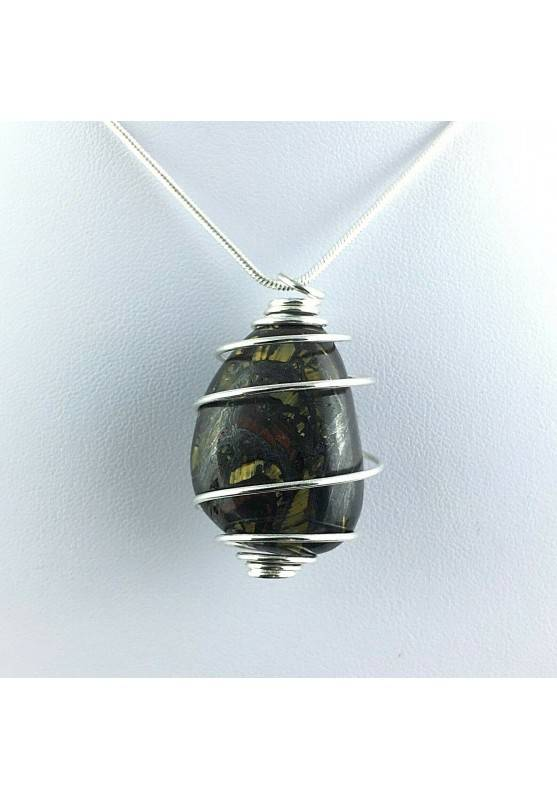 Pendant TIGER IRON EYE Eye Tumbled Jewel Charm Silver Plated Spiral A+-2
