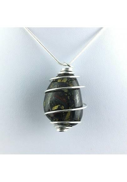 Pendant TIGER IRON EYE Eye Tumbled Jewel Charm Silver Plated Spiral A+-2