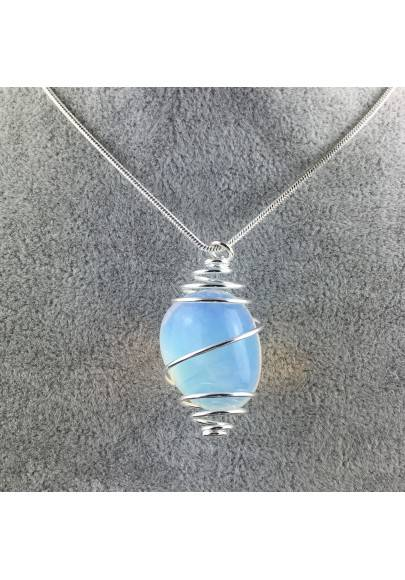 Ciondolo OPALE Montata Artigianalmente Spirale Placcata Argento Collana A+-1