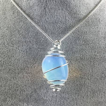 Opal Pendant Hand Made on Silver Plated Spiral Necklace Tumble Stone A+-1