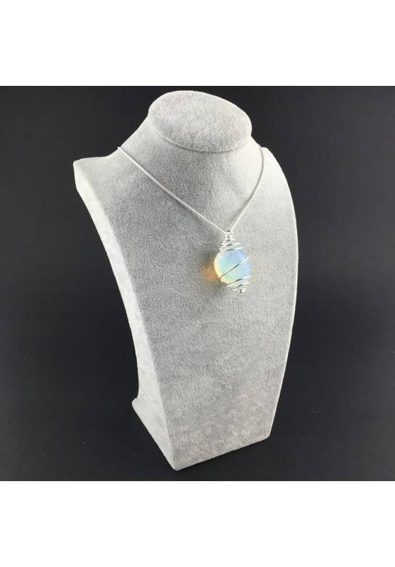 Opal Pendant Hand Made on Silver Plated Spiral Necklace Tumble Stone A+-3