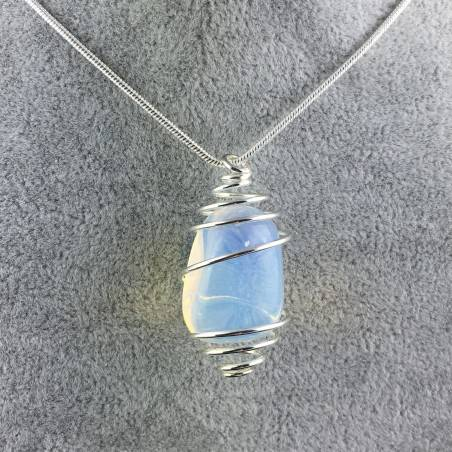 Opal Pendant Hand Made on Silver Plated Spiral Necklace Tumble Stone A+-4