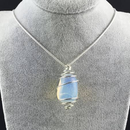 Opal Pendant Hand Made on Silver Plated Spiral Necklace Tumble Stone A+-5