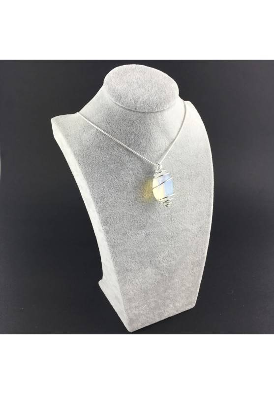Opal Pendant Hand Made on Silver Plated Spiral Necklace Tumble Stone A+-6