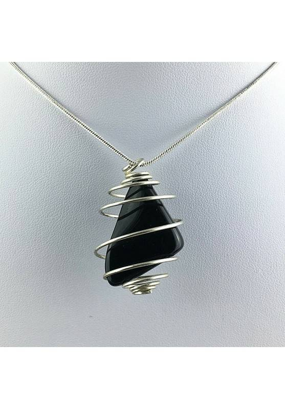 Black Obsidian Tumbled Stones Pendant Hand Made on Silver Plated Spiral A+-1