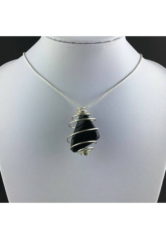 Black Obsidian Tumbled Stones Pendant Hand Made on Silver Plated Spiral A+-2