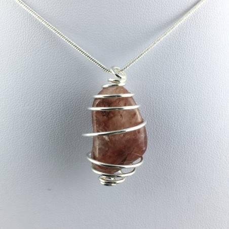 HEMATOID QUARTZ Pendant Hand Made on Silver Plated Spiral A+-4