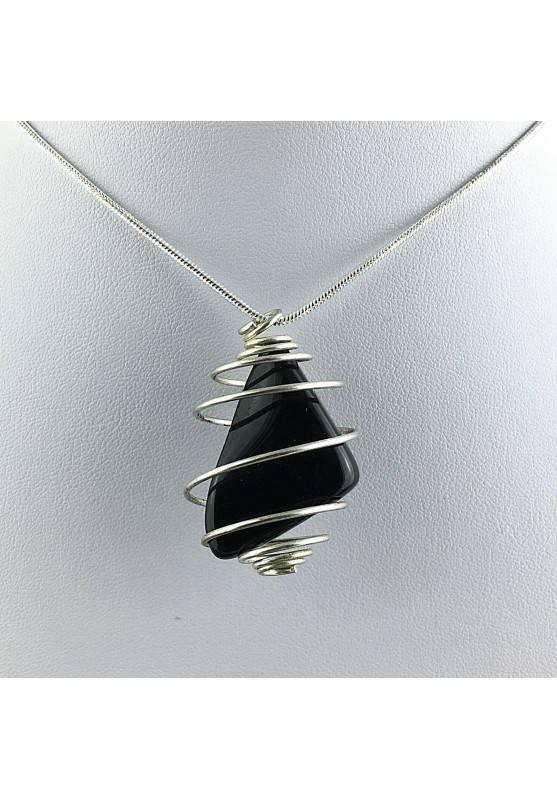 Black Obsidian Tumbled Stones Pendant - CAPRICORN Zodiac Silver Plated Spiral A+-1