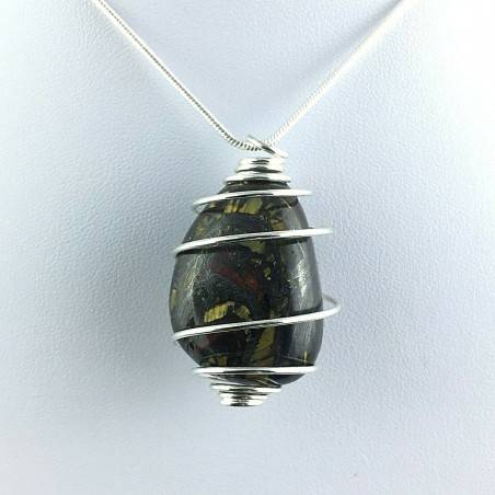 Pendant TIGER IRON EYE Tumbled Stone Minerals - LEO Zodiac Silver Gift Idea A+-2