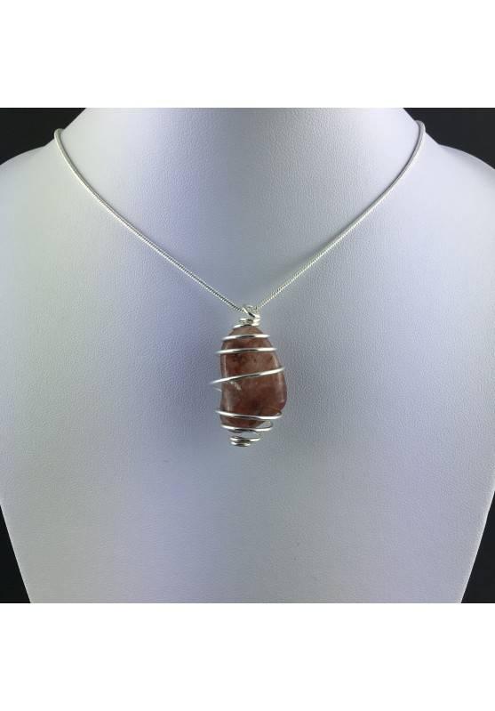 Pendant in HEMATOID QUARTZ - CANCER Zodiac Silver Plated Spiral Gift Idea A+-2